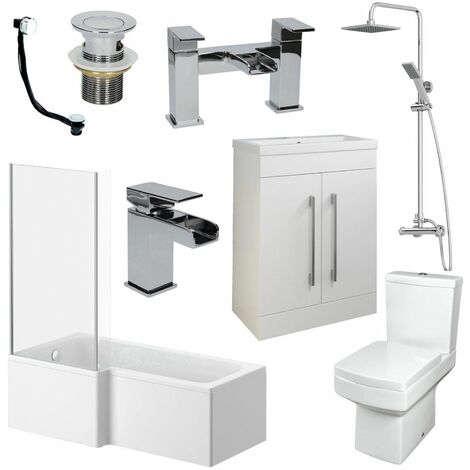1500mm L Shape Bathroom Suite LH Bath Screen Basin Vanity Unit WC Shower Taps