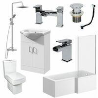 1500mm L Shape Bathroom Suite LH Bath Screen Basin Vanity Unit WC Shower Taps