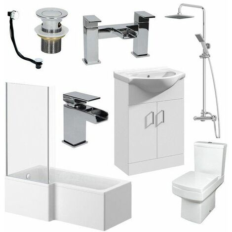 1500mm L Shape Bathroom Suite RH Bath Screen Basin Vanity Unit WC Shower Taps