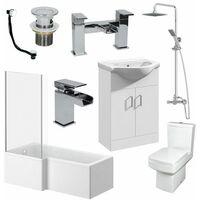 1500mm L Shape Bathroom Suite RH Bath Screen Basin Vanity Unit WC Shower Taps