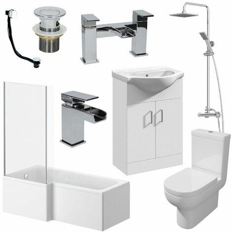 1500mm LH L Shaped Bathroom Suite Bath Screen Basin Toilet Shower Taps Waste