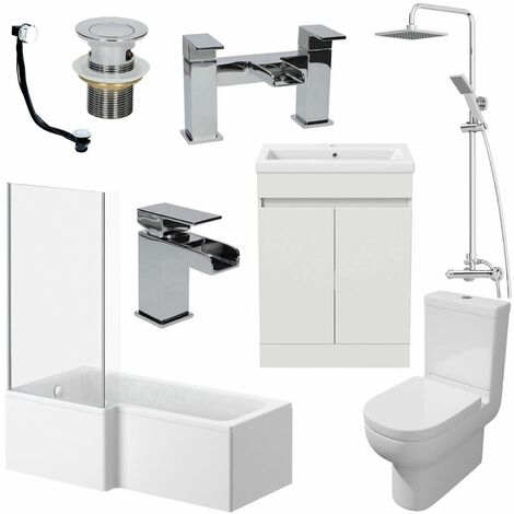 1500mm LH L Shaped Bathroom Suite Bath Shower Screen Basin Taps Toilet Waste