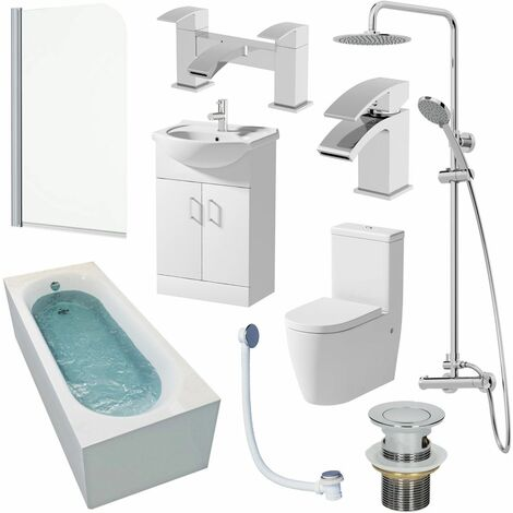 1500mm Single Ended Bathroom Suite Bath Shower Screen Toilet Basin Vanity Taps
