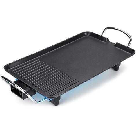 1500W 5 vitesses 50Hz plaque de cuisson plate antiadhésive barbecue électrique gril pot poêle à barbecue prise EU (28x68 cm)