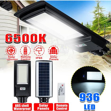 1500W 6500k LED Farola solar Lámpara de luz solar LED (936LEDs) con sensor de movimiento PIR de pared + control remoto para exteriores