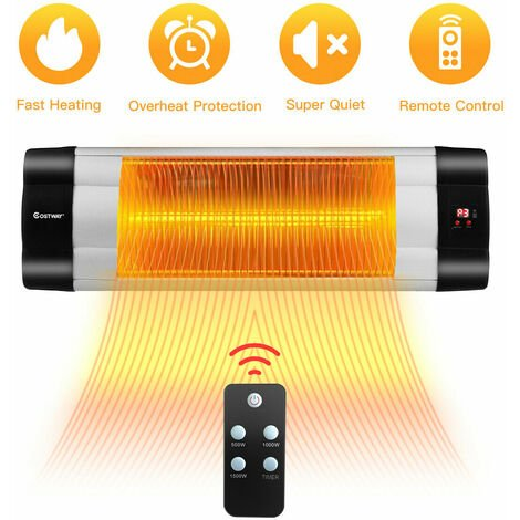 1500W Electric Infrared Heater Wall Mounted Garden Patio Heater Remote Control
