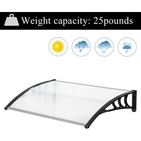 150*100cm Door Canopy Transparent Awning Shelter Front Back Porch Outdoor Shade Patio Roof-Different colors
