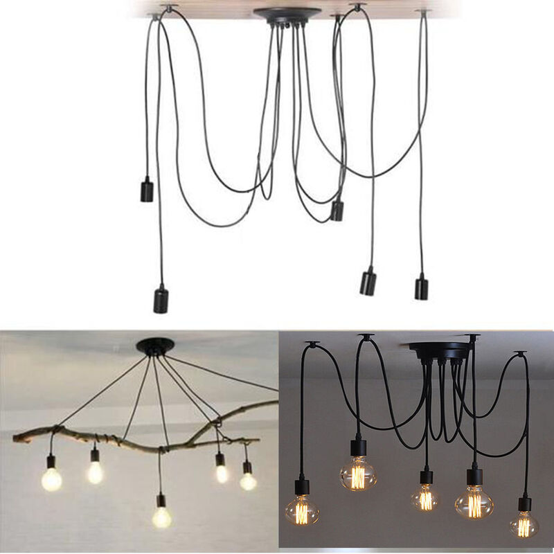 Image of 150cm Classic Edison Pendant Lamp Vintage Ceiling Lamp E27 Retro Spider Hanging Light Industrial Pendant Light 5 Heads Black