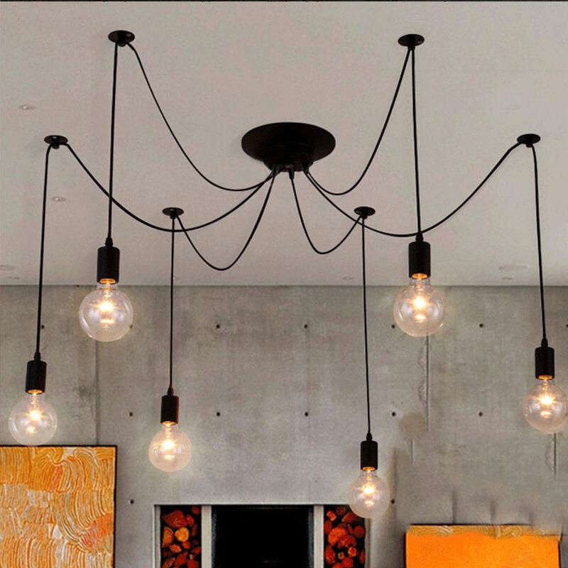 Image of 150cm Classic Edison Pendant Lamp Vintage Ceiling Lamp E27 Retro Spider Hanging Light Industrial Pendant Light 6 Heads Black