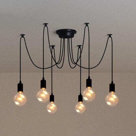 150cm Classic Edison Pendant Lamp Vintage Ceiling Lamp E27 Retro Spider Hanging Light Industrial Pendant Light 6 Lights Black