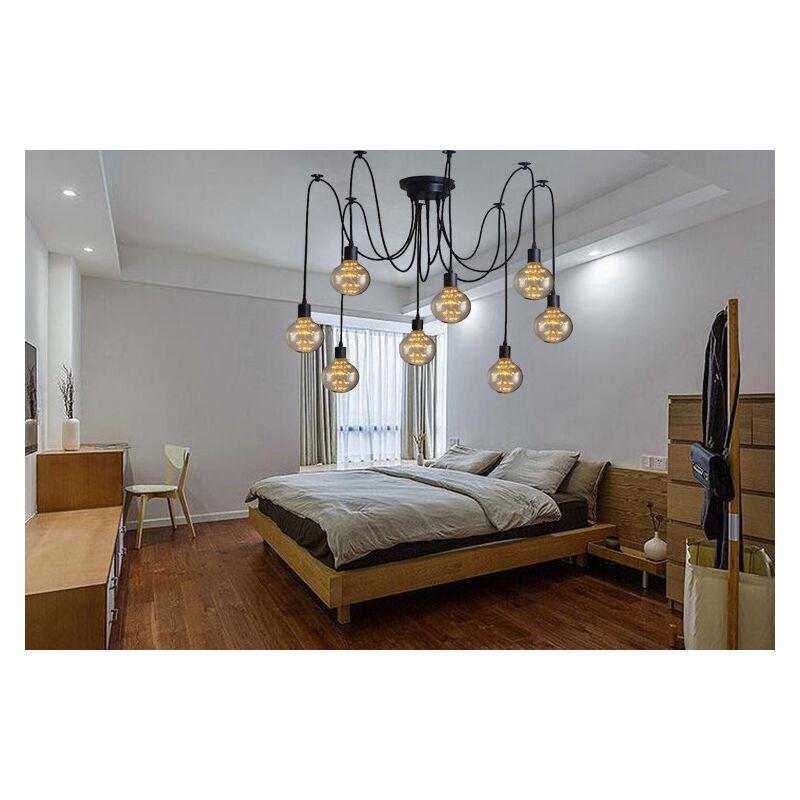 Image of 150cm Classic Edison Pendant Lamp Vintage Ceiling Lamp E27 Retro Spider Hanging Light Industrial Pendant Light 8 Heads Black