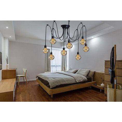 150cm Classic Edison Pendant Lamp Vintage Ceiling Lamp E27 Retro Spider Hanging Light Industrial Pendant Light 8 Lights Black