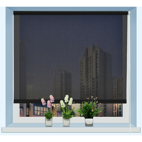 150CM DROP ROLLER BLIND/BLINDS SEMI TRANSPARENT BLACK 110CM