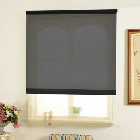 150CM DROP ROLLER BLIND/BLINDS SEMI TRANSPARENT BLACK 55CM