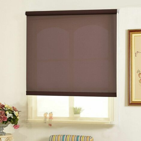 150CM DROP ROLLER BLIND/BLINDS SEMI TRANSPARENT BROWN 110CM