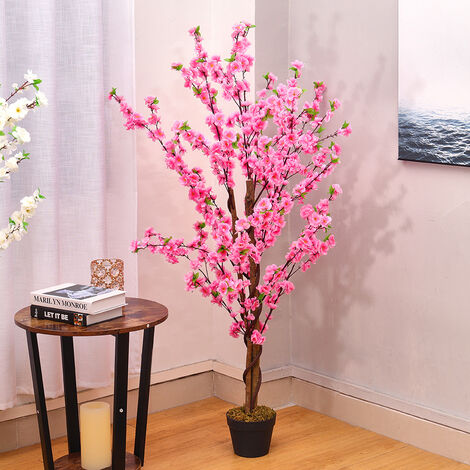 150CM Faux Silk White Peach Blossom Tree Flowers Branch Potted Plant, Pink