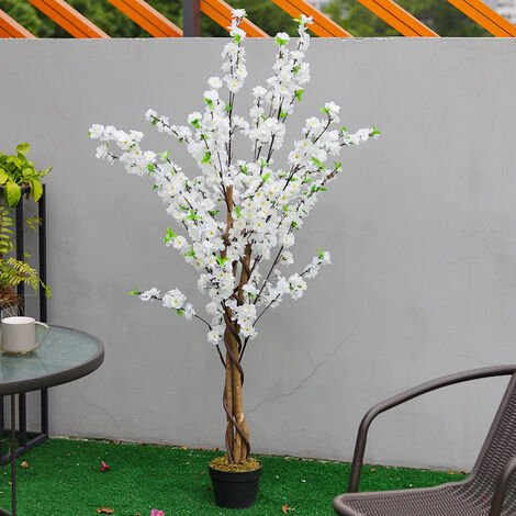 150CM Faux Silk White Peach Blossom Tree Flowers Branch Potted Plant, White