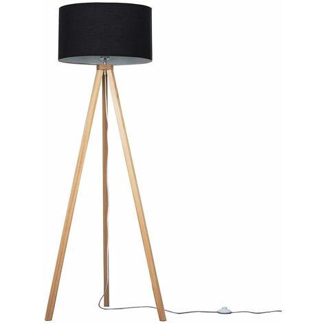 150cm Light Wood Tripod Floor Lamp - Grey - Brown