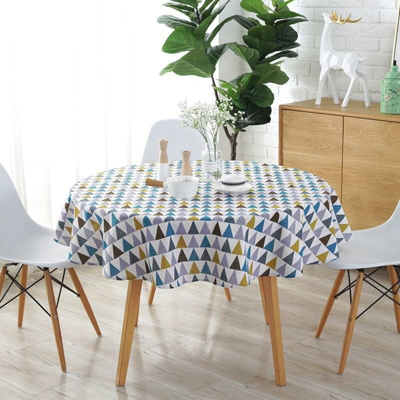 150CM Nappe de Table Ronde Colorée Tissu Nordique Polyester Coton Linge Ménage Jardin à Manger Vaisselle Nappe Ronde Plaine Cuisine Multicouleur