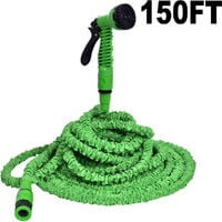 150FT EXPANDABLE FLEXIBLE GARDEN HOSE PIPE 4x EXPANDING WITH SPRAY GUN NEW UK