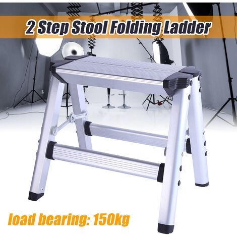 150KG Carga máxima 2 Escalera plegable Escalera antideslizante Plataforma de aluminio de seguridad