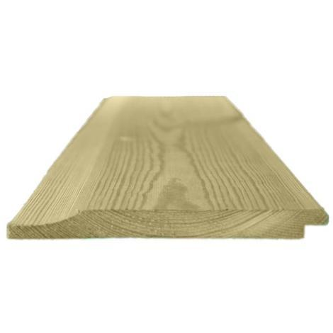 150mm x 15mm Thick Treated Wooden Shiplap Cladding Boards - L: 2.4m - pack of 20