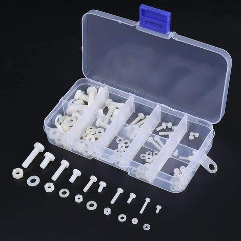 150Pcs Vis en Polyamide, Kit de Boulons Écrou Étanche avec Boîte pour Matériel Électrique et Mécanique M2 M2.5 M3 M4 M5