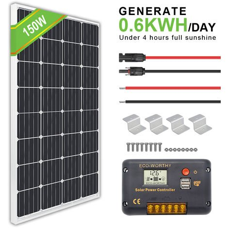 150W RV panneau solaire 12V module mono w / 20A LCD contrôleur de charge alimentation domestique