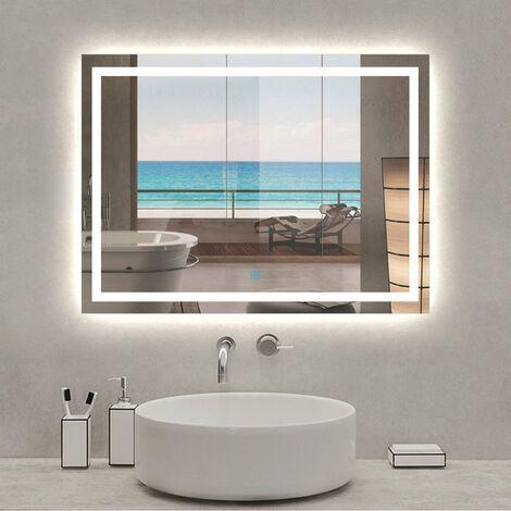 """main image of """"Espejo Antivaho de baño, Espejo baño con luz, Interruptor táctil, Suspensión Vertical/Horizontal"""""""