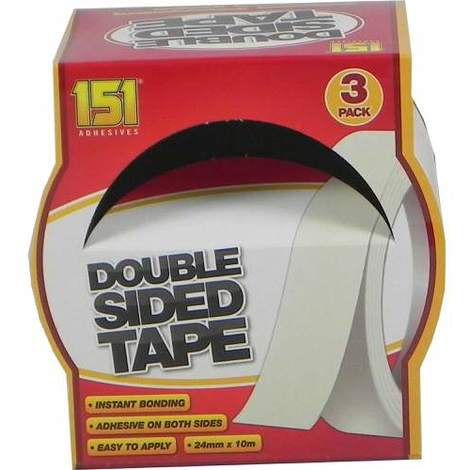 151 Double Sided Tape Pack of 3 24mm x 10m