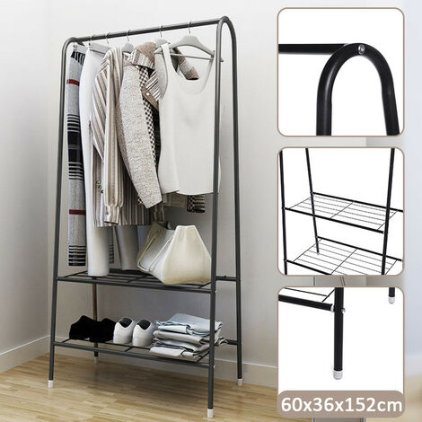 (152X60X35cm)?(Stainless Steel Tube) Clothes Storage Rack Clothes Rail Rack Wardrobe Organizer Hanger Drying Shelf Folding Clothes Hanger Shoes Coats (Black)