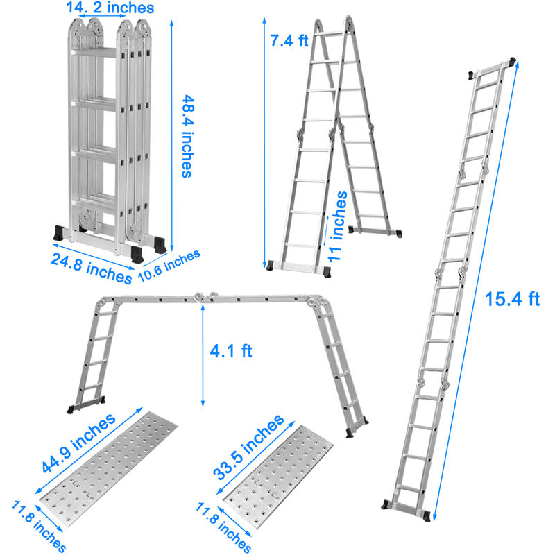 15.4FT 4-Folding Step Ladder Platform Aluminum Extension Multi-Purpose HeavyDuty