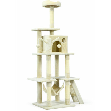 155cm Cat Tree Deluxe Scratching Bed Scratcher Post Kitten Pet Play Tower Condo Beige