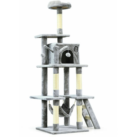 155cm Cat Tree Deluxe Scratching Bed Scratcher Post Kitten Pet Play Tower Condo Grey