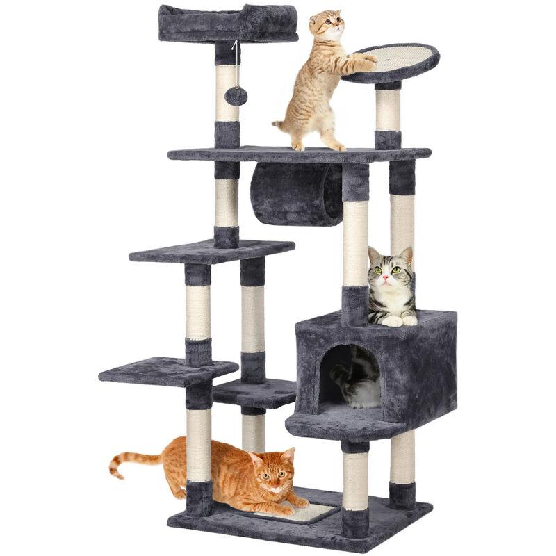 157cm Large Cat Tree Activity Centre Sisal Scratching Post Climber Play Tower Dark Gray 610836 Dark Gray