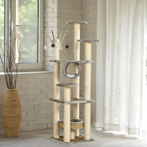 158CM Cat Tree Tower Activity Centre Scratching Post Grey