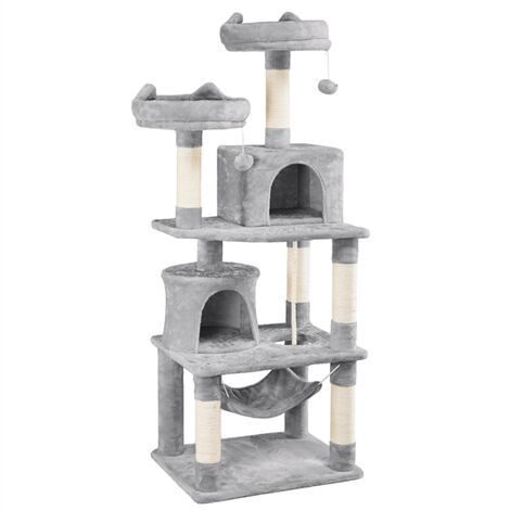 158cm Cat Tree Tower Post Scratcher Climbing Stand for Adult Cats, Cat Activity Centre Scratching Post with Hammock/2 Condos/2 Perches/Dangling Toys Light Gray