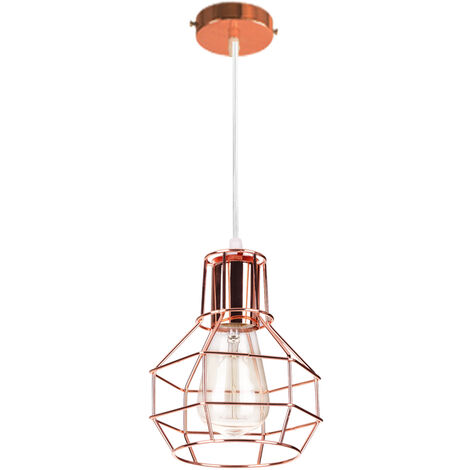 15cm Creative Ceiling Lamp Metal Round Pendant Light Rose Gold Hanging Lighting Industrial Cage Light E27