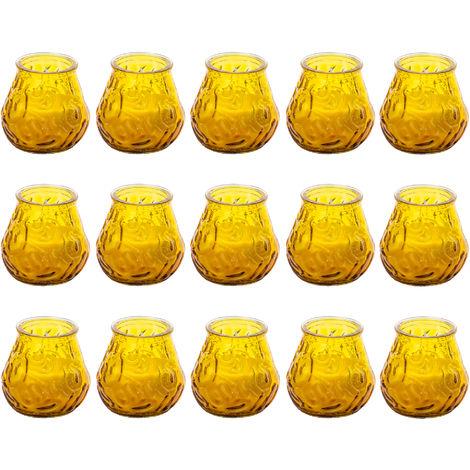 15er pack Citronella-Kerzen - Ideal für die Nase & gegen Mücken - Angenehme, zitrische Duftstoffe auf ätherische Öl-Basis - Inkl. schönem Dekoglas - Wiederverwendbar für Teelichter