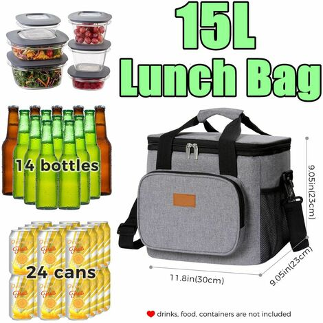 15L Large Lunch Bag Insulated Lunch Box Soft Cooler Lunch Box Cooling Tote For Adult Men Women Picnic Camping