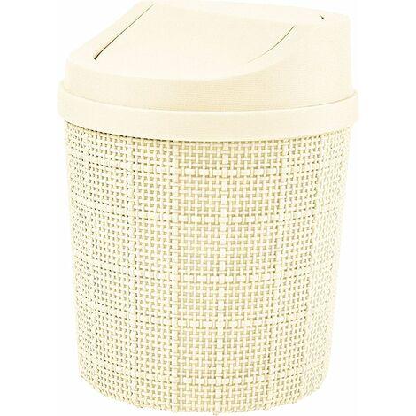 1,5L Mini Poubelle, Mini Poubelle de Bureau, avec Poubelle et Couvercle Pivotant, pour Chambre,Salle,Cuisine,Véhicule (Blanc)