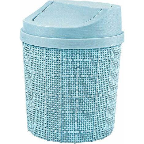 1,5L Mini Poubelle, Mini Poubelle de Bureau, avec Poubelle et Couvercle Pivotant, pour Chambre,Salle,Cuisine,Véhicule (Bleu)