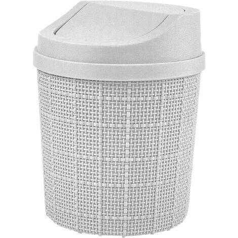 1,5L Mini Poubelle, Mini Poubelle de Bureau, avec Poubelle et Couvercle Pivotant, pour Chambre,Salle,Cuisine,Véhicule (Gris)