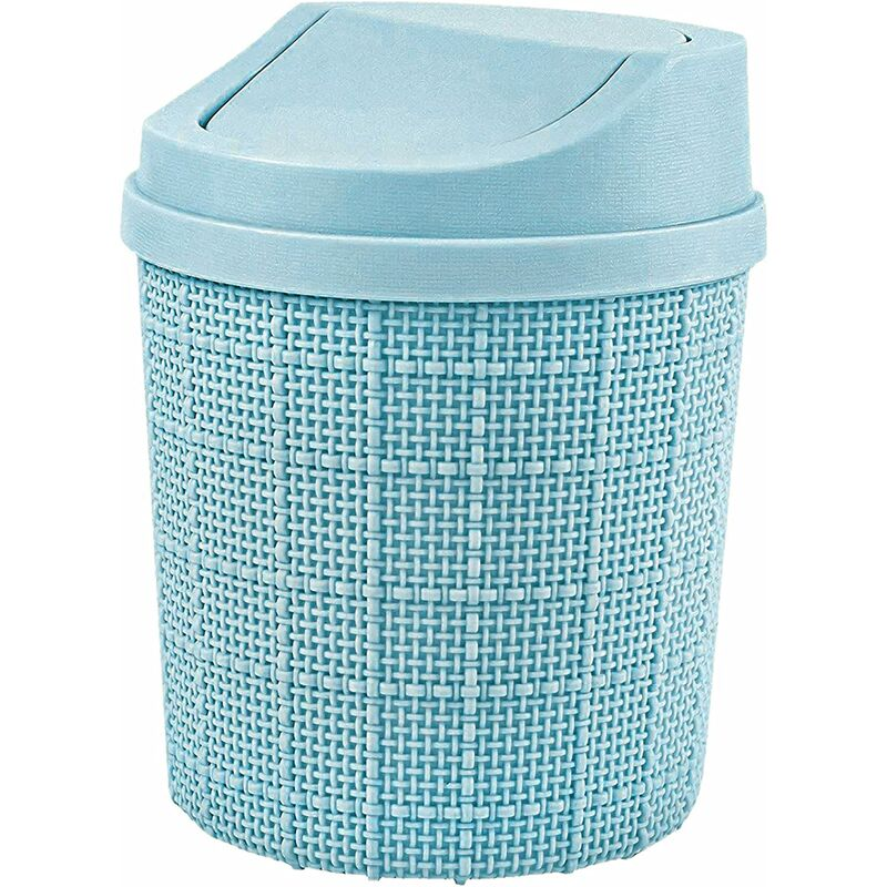 Image of 1.5L Mini Trash Can, Mini Office Trash Can, with Trash Can and Swivel Lid, for Bedroom, Room, Kitchen, Vehicle (Blue)