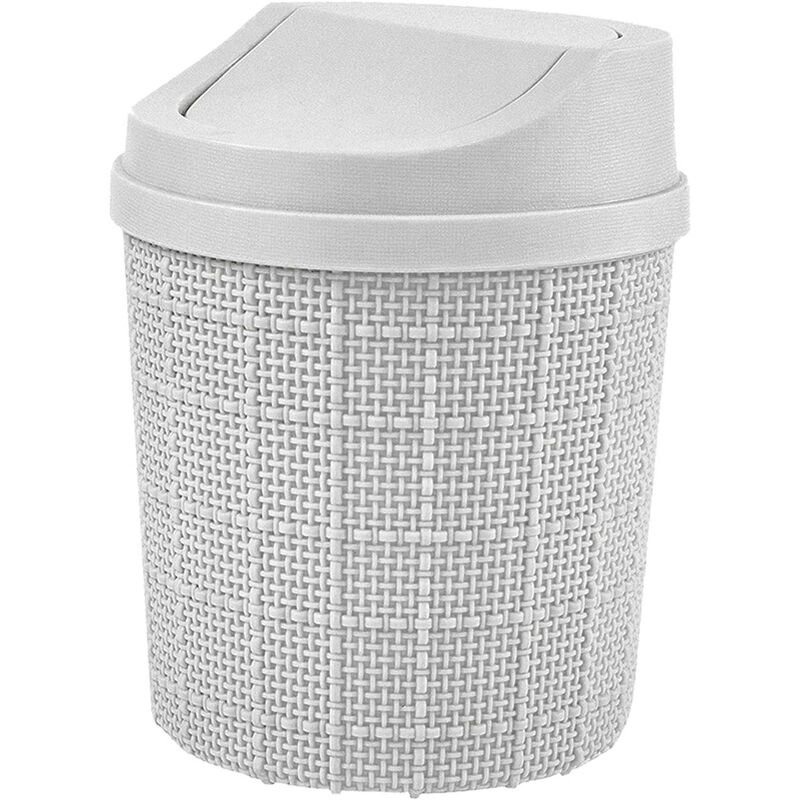 Image of 1.5L Mini Trash Can, Mini Office Trash Can, with Trash Can and Swivel Lid, for Bedroom, Room, Kitchen, Vehicle (Gray)