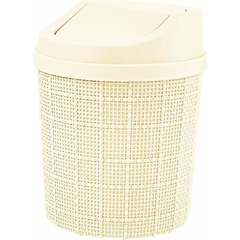 Image of 1.5L Mini Trash Can, Mini Office Trash Can, with Trash Can and Swivel Lid, for Bedroom, Room, Kitchen, Vehicle (White)
