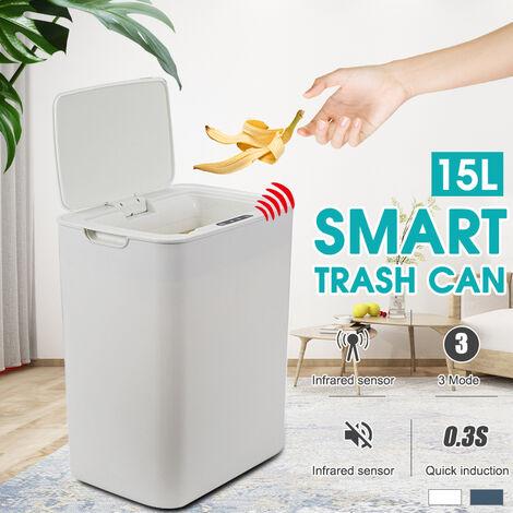 15L Smart Gallon capteur sans contact entièrement automatique poubelle en acier inoxydable poubelle cuisine salle de bain (blanc, chargement USB)