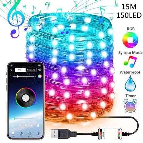 """main image of """"15m 150LED guirlande lumineuse USB alimente par Bluetooth telephone portable APP telecommande lumieres de decoration de Noel"""""""