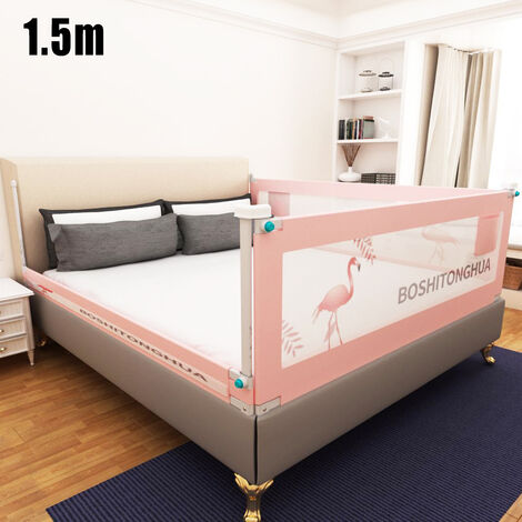1.5m Baby Bed Rail pink for Toddlers Fold Down Safety Steel Structure Children's Anti-fall Bed Guardrail