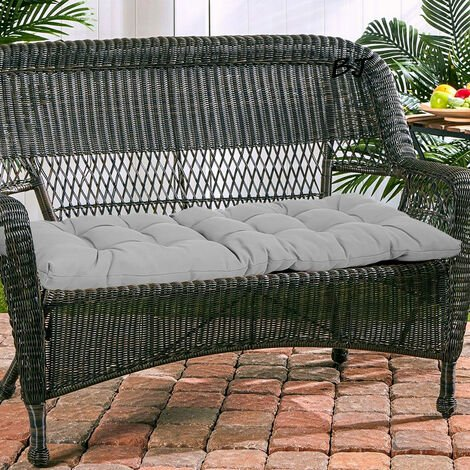1.5M Garden Patio 3 Seater Tufted Bench Cushion Pad Gray